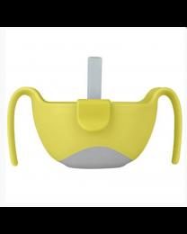 B.box 三合一双手柄吸管碗 6M+ 240ml 柠檬黄撞灰色