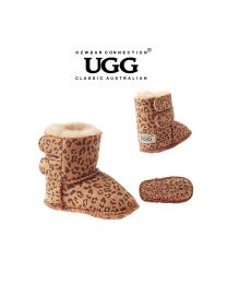 【包邮】BABY OZWEAR UGG OB008 豹纹 新款保暖防滑羊皮毛一体魔术贴学步鞋雪地靴(S\M\L\XL) 下单前请联系客服备注尺码哦