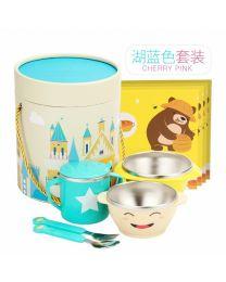 Vip Baby餐具 男孩湖蓝色叉勺+杯子+碗五件套