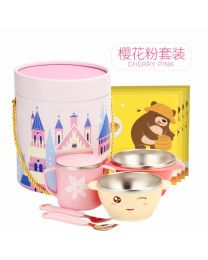 Vip Baby餐具 女孩樱花粉叉勺+杯子+碗五件套