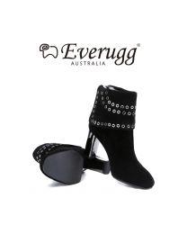 【包邮】EVER UGG 111014 黑色 Tiffany 铆钉 纯羊毛高跟鞋雪地靴(35码-40码)