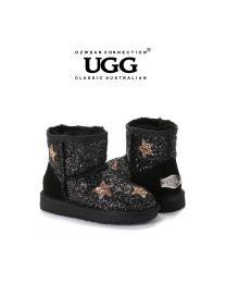 【包邮】KIDS OZWEAR UGG OB464 黑色 格丽特鞋面搭配格丽特星星 内里羊毛雪地靴(5/6、7/8、9/10、11/12、13/1、1/2) 下单前请联系客服备注尺码哦