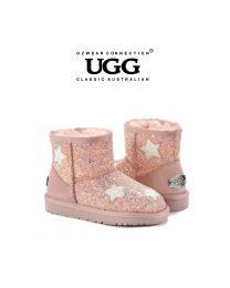 【包邮】KIDS OZWEAR UGG OB464 粉色 格丽特鞋面搭配格丽特星星 内里羊毛雪地靴(5/6、7/8、9/10、11/12、13/1、1/2) 下单前请联系客服备注尺码哦