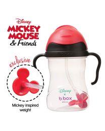 B.BOX 限量迪士尼系列-米奇款 婴幼儿重力球吸管杯 防漏 240ml 黑红色