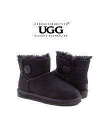 【清仓特惠】【包邮】OZWEAR UGG OB362 黑色 经典一粒扣短筒雪地靴(35码-40码) 下单前请联系客服备注尺码哦