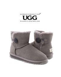 【清仓特惠】【包邮】OZWEAR UGG OB362 灰色 经典一粒扣短筒雪地靴(35码-40码) 下单前请联系客服备注尺码哦