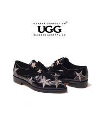 【包邮】OZWEAR UGG OB262 黑色 春季新款尖头刺绣五星水晶牛皮漆皮女鞋