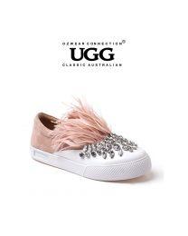 【包邮】OZWEAR UGG OB332 二色可选  休闲羽毛水钻真皮乐福鞋套脚平底小白单鞋