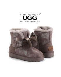 【清仓特惠】【包邮】OZWEAR UGG OB452 灰色 秋冬新款 史黛拉毛球雪地靴(35码-40码) 下单前请联系客服备注尺码哦